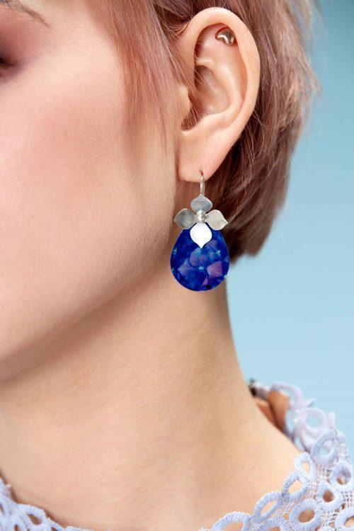 Sterling-Silver-Hydrangea-flower-earrings-handmade