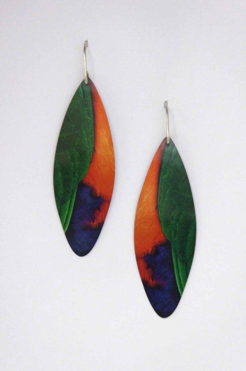 handmade-earrings-Australian-King-Parrot-feathers-sublimation-aluminium