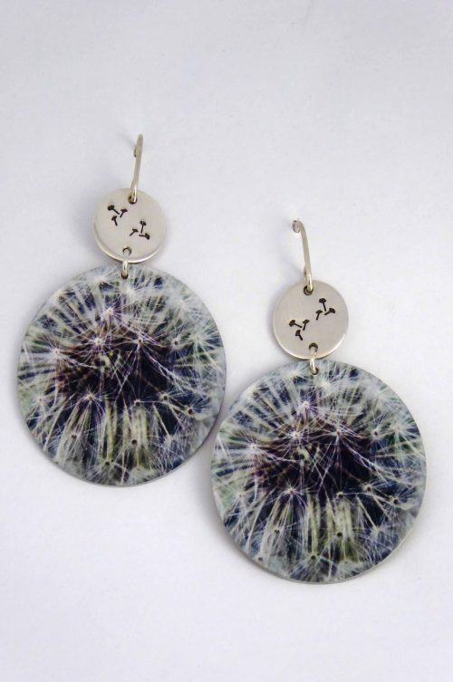 statement-earrings-yellow-dandelion-seeds-whimsical-design