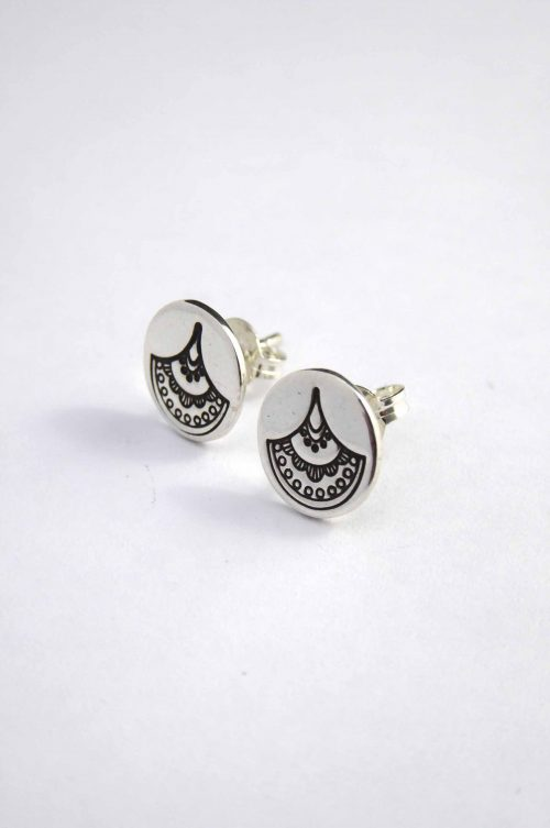 fan-inspired-hand-stamped-stud-earrings-sterling-silver