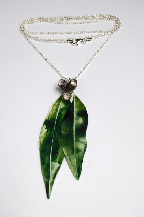 gum-leaf-necklace-watercolour-illustration-sterling-silver-gum-nuts