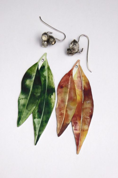gum-leaf-reversible-earrings-watercolour-illustration-sublimated-Aluminium
