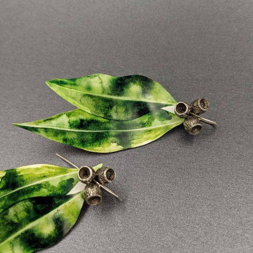 gum-leaf-reversible-earrings-watercolour-illustration-sublimated-Aluminium