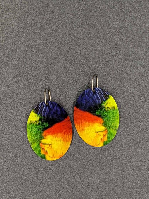 statement-earrings-rainbow-lorikeet-feathers-sublimated-aluminium