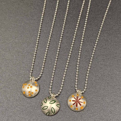 botanical-inspired-necklaces-stamped-enamel-painted-handmade